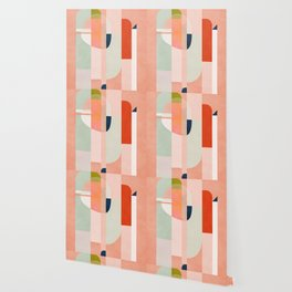 shapes modern mid-century peach pink coral mint Wallpaper
