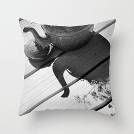 Summer flower pot in black and white Throw Pillow