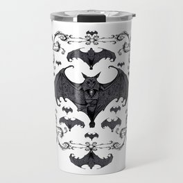 Bats and Filigree - Black and White Travel Mug