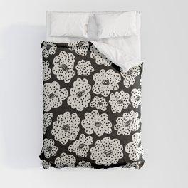 Spotted modern floral on black Comforters