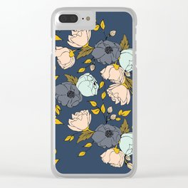 Flowers in Blue Clear iPhone Case