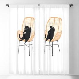 Lazy cat 2 enjoying coffee on rattan chair  Blackout Curtain