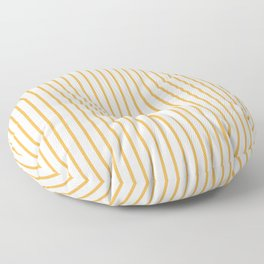 Marigold Yellow Pinstripe on White Floor Pillow