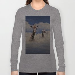 Heads above the Clouds with 3 Giraffes Long Sleeve T-shirt