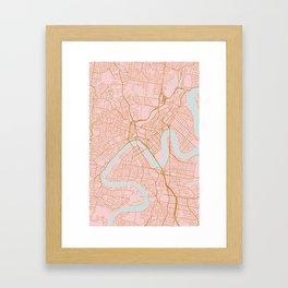 Pink and gold Brisbane map Framed Art Print
