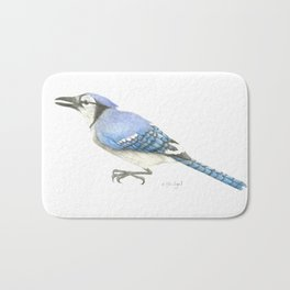Blue Jay Study in Colored Pencils Bath Mat