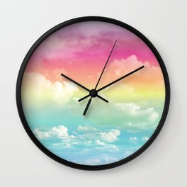 Clouds in a Rainbow Unicorn Sky Wall Clock