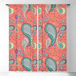 Boho Paisley on Coral Blackout Curtain