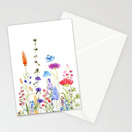 colorful wild flowers watercolor painting Stationery Cards