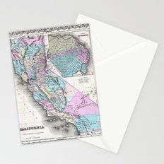 Map of California and San Francisco 1855 Stationery Cards