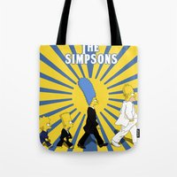 simpson Tote Bags featuring Simpson Sun by sgrunfo