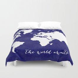 The world awaits in navy blue Duvet Cover