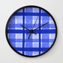 Tissue Paper Plaid - Blue Wall Clock