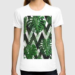Geometrical green black white tropical monster leaves T-shirt
