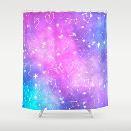White constellation universe pattern zodiac on purple blue nebula space watercolor Shower Curtain