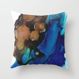 Brown Blue Abstract Throw Pillow