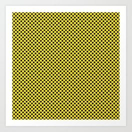 Blazing Yellow and Black Polka Dots Art Print