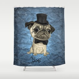 Pug; Gentle Pug (color version) Shower Curtain