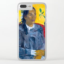 """Paul Gauguin """"Tahitian Woman with a Flower (Vahine no te tiare)"""" Clear iPhone Case"""
