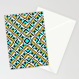 Geometric Inverse Turquoise & Yellow Stationery Cards