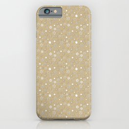 Gold & White Christmas Snowflakes iPhone Case