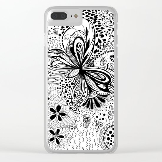 Butterfly and flowers, doodles Clear iPhone Case