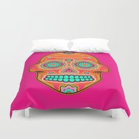 sugar skull Duvet Covers featuring Sugar Skull by Good Sense