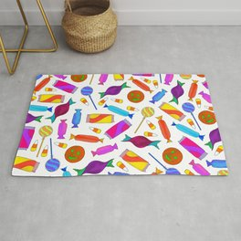 Cute Artsy Colorful Halloween Candy Watercolor Rug