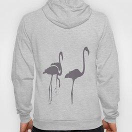 Three Flamingos Grey Silhouette Isolated Hoody