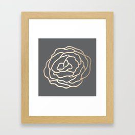 Rose White Gold Sands on Storm Gray Framed Art Print