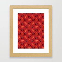 Red Bohemian Retro Floral Vector Pattern Seamless, Hand Drawn Stylized Framed Art Print