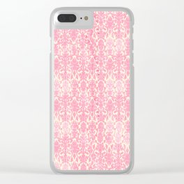 Salmon Pink Damask Clear iPhone Case