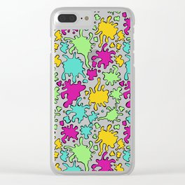 Colorful Paint Splatter Pattern Clear iPhone Case