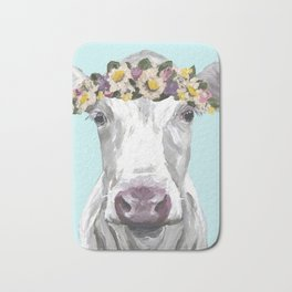 Cute Cow Up Close, Flower Crown Cow Bath Mat