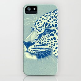 Leopard Turquoise feline glance iPhone Case
