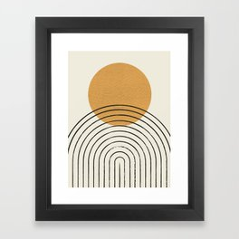 Gold Sun rainbow mid-century full Framed Art Print