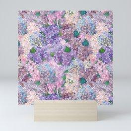 Purple and blue Lilac & Hydrangea - Flower Design Mini Art Print