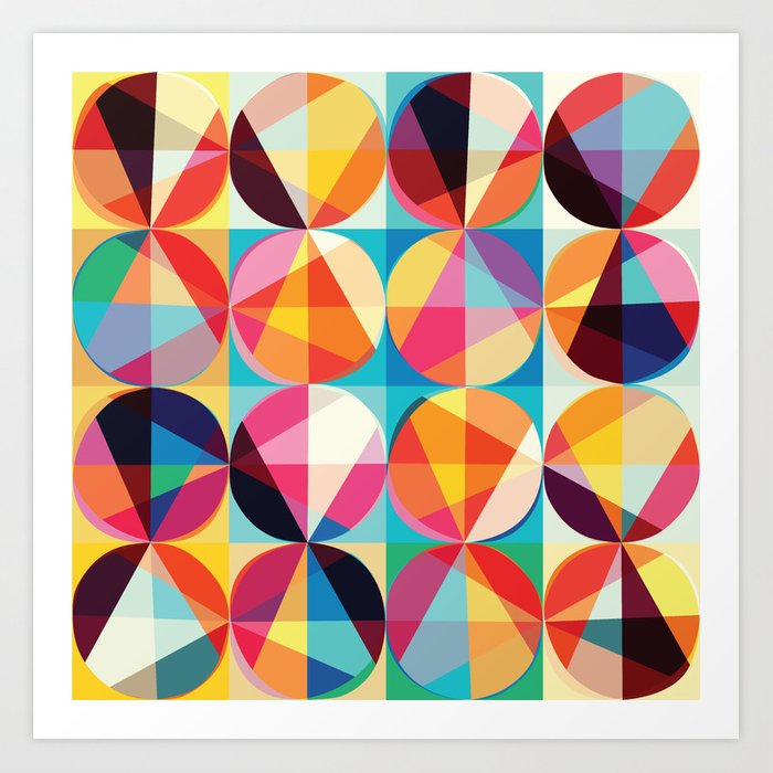 Beautiful Colors Geometry Geometric Abstract Triangles Circles Squares Art Print By Fallenangelbrass