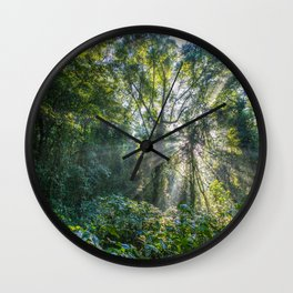 Sun Rays in a Forest Wall Clock