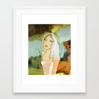 blondie Framed Art Prints featuring blondie  by Agnes Laczo