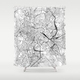 Rome White Map Shower Curtain