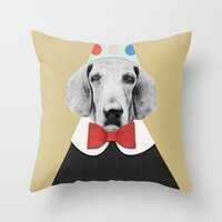 pooh Throw Pillows featuring Doggy Pooh the Clown by cafelab