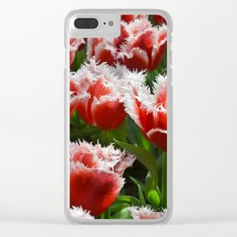Big red roses with green leaves and white top edges Clear iPhone Case