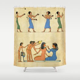 Modern hieroglyphs: Ancient Egypt lifestyle and costumes Shower Curtain