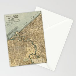 Vintage Map of Cleveland OH (1894) Stationery Cards