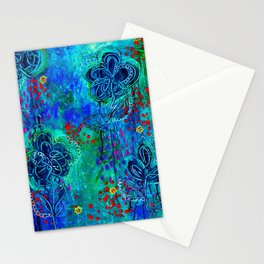 In Too Deep - Blue Abstract Flowers Stationery Cards