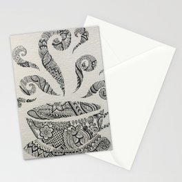But first, Tea - tea coffee lover zentangle Stationery Cards