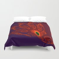 will graham Duvet Covers featuring glowing hand of mark c. graham by donphil