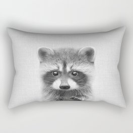 Raccoon - Black & White Rectangular Pillow