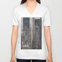 concrete V-neck T-shirts featuring Concrete Jungle by Christine Workman